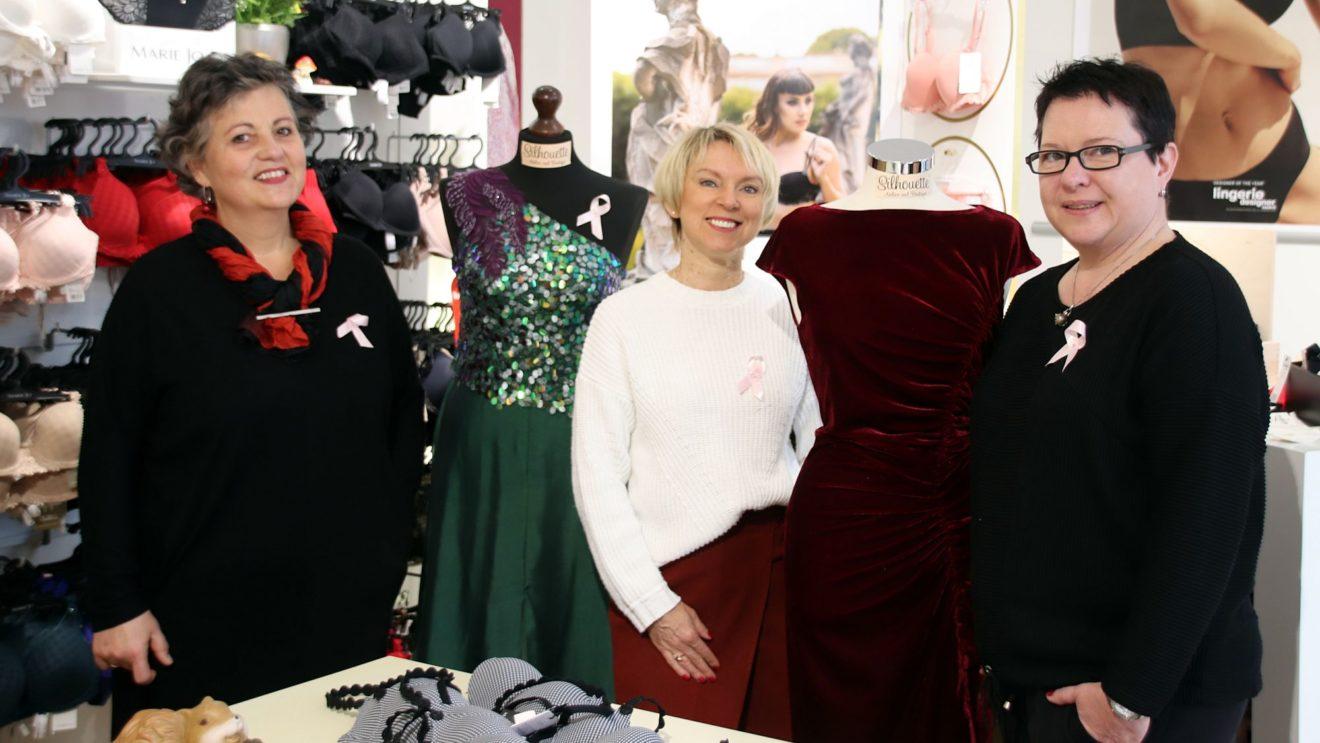 Steffi Riechert, Tatjana Löwen und Michaela Binder (v.l.) in der Unterwäsche-Boutique