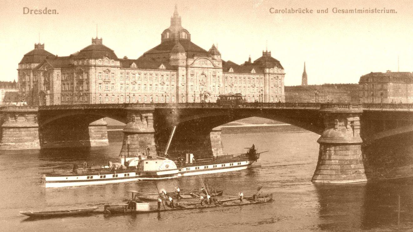 Carolabrücke - Postkarte von Anfang des 20. Jahrhunderts