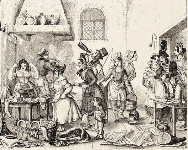 Dresdner Hausgesinde - Zeichnung: Johann Peter Lyser für den Literarischen Merkur