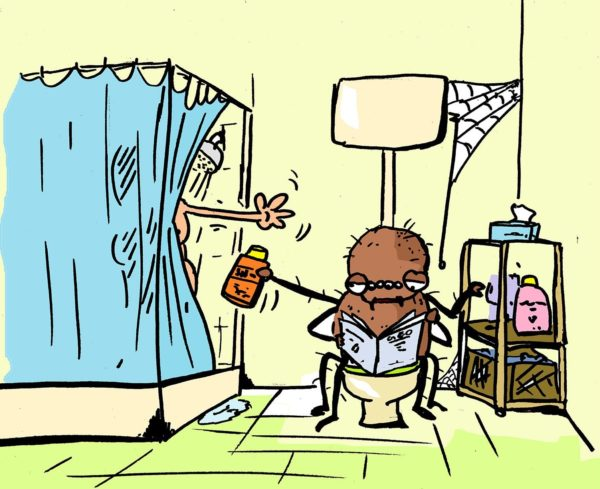 Klar sind Krabbeltiere zu Hause eklig, aber nach ein paar Jahren habe ich mich mit meiner Badspinne irgendwie arrangiert. Zeichnung: Pinselbube