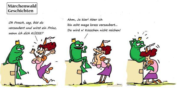 Nicht ganz jugendfreie Abwandlung eines Grimmschen Märchens. Zeichnung: Pinselbube