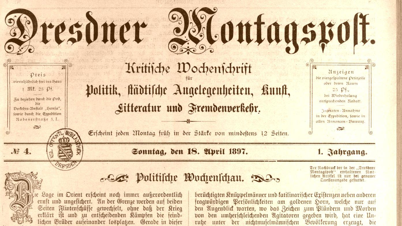 Dresdner Montagspost von 1897.