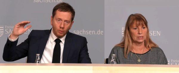 Ministerpräsident Michael Kretschmer (CDU) und Sozialministerin Petra Köpping (SPD) stellten am Freitagabend die neue Verordnung vor.