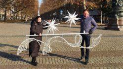 Barbara Oehlke vom Gewerbeverein Hauptsache Hauptstraße und Matteo Böhme vom Augustusmarkt