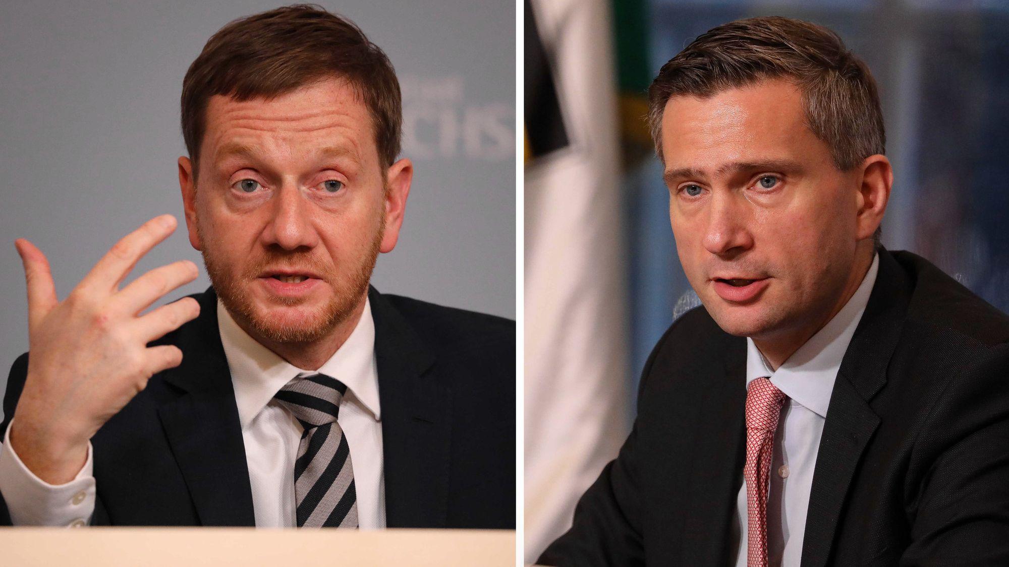 Ministerpräsident Michael Kretschmer (CDU) und Wirtschaftsminister Martin Dulig (SPD) bei der Pressekonferenz - Foto: Tino Plunert