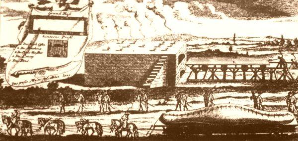 Kupferstich mit Riesenstollen vom Zeithainer Lustlager
