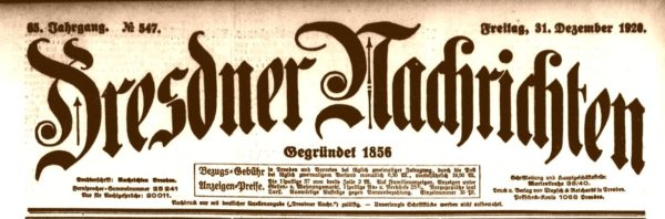 Dresdner Nachrichten vom 31. Dezember 1920