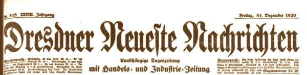 Dresdner Neueste Nachrichten vom 31. Dezember 1920