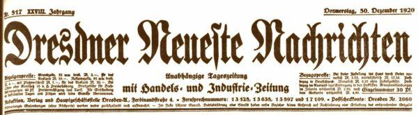 Dresdner Neueste Nachrichten von 1920