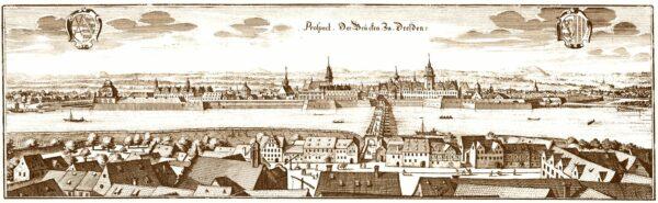 """""""Prospect der Brücken zu Dresden"""" - der Kupferstich von Matthaeus Merian aus dem Jahr 1650 zeigt die Altstadt mit Festungsmauer, und einen Teil des Altendresden - heute Innere Neustadt"""