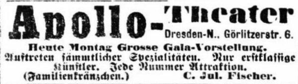Anzeige in den Dresdner Nachrichten