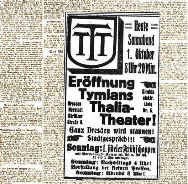 Anzeige zur Eröffnung des Tymian in den Dresdner Neuesten Nachrichten vom 1. Oktober 1910