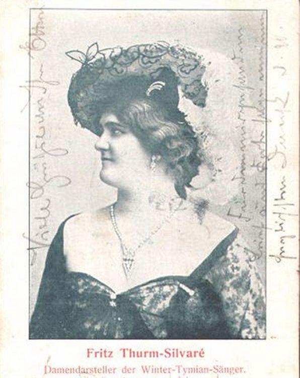 Postkarte mit dem Damendarsteller Fritz Thurm-Silvaré