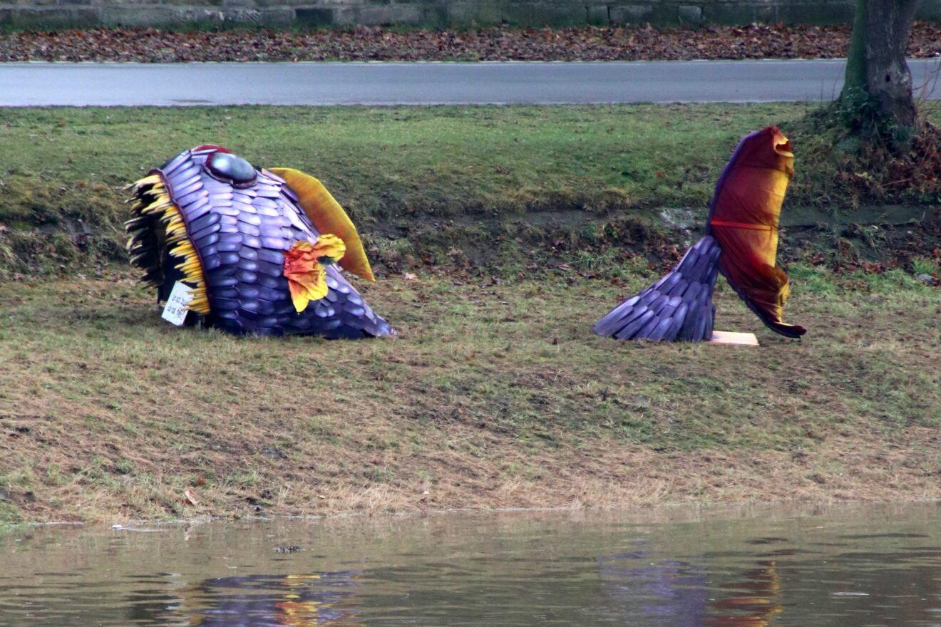 Monster-Fisch oder Mini-Drache an der Elbe