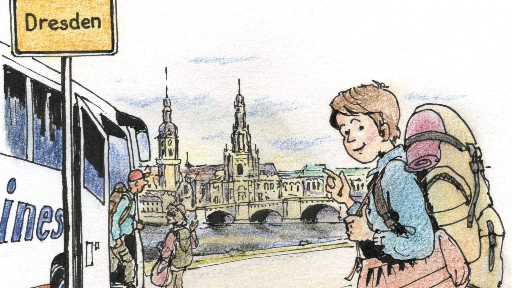 Peps auf dem Weg nach Dresden - Zeichnung: Jean-Pierre Deruelles