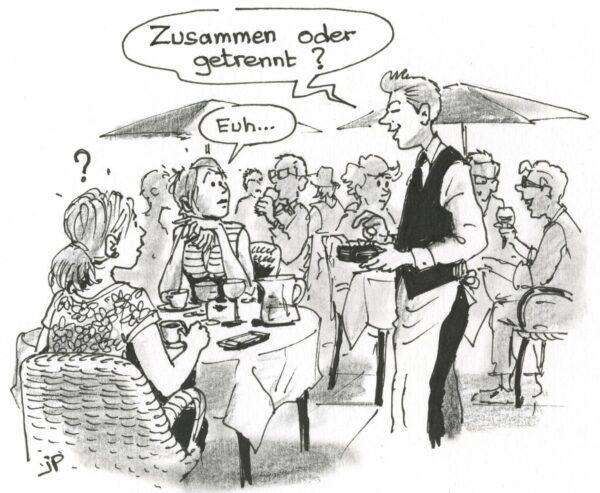 Der Kellner bring Peps in Entscheidnungsnöte - Zeichnung: Jean-Pierre Deruelles