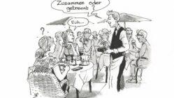 Der Kellner bring Peps in Entscheidnungsnöte - Peps verzweifelt am Telefon - Zeichnung: - Zeichnung: Jean-Pierre Deruelles