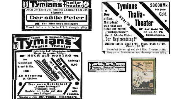 Thalia-Anzeigen in Dresdner Zeitungen vor rund 100 Jahren