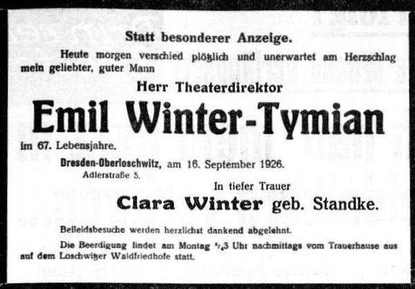 Todesanzeige in den Dresdner Nachrichten.