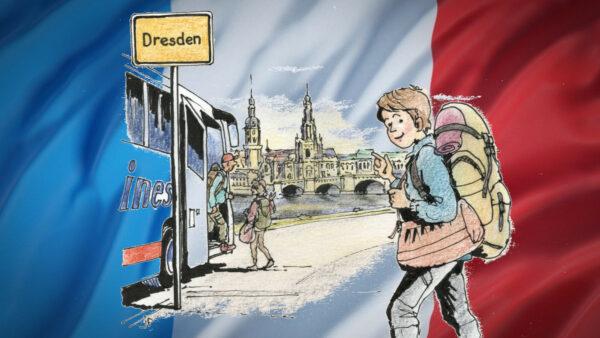 Die Französin Peps in Dresden - Zeichnung: Jean-Pierre Deruelles