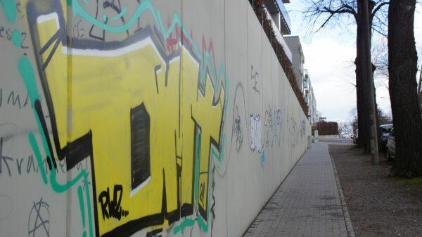 Auf der Mauer, auf der Lauer: Reihenhäuser an der Tannenstraße. Foto: Philine