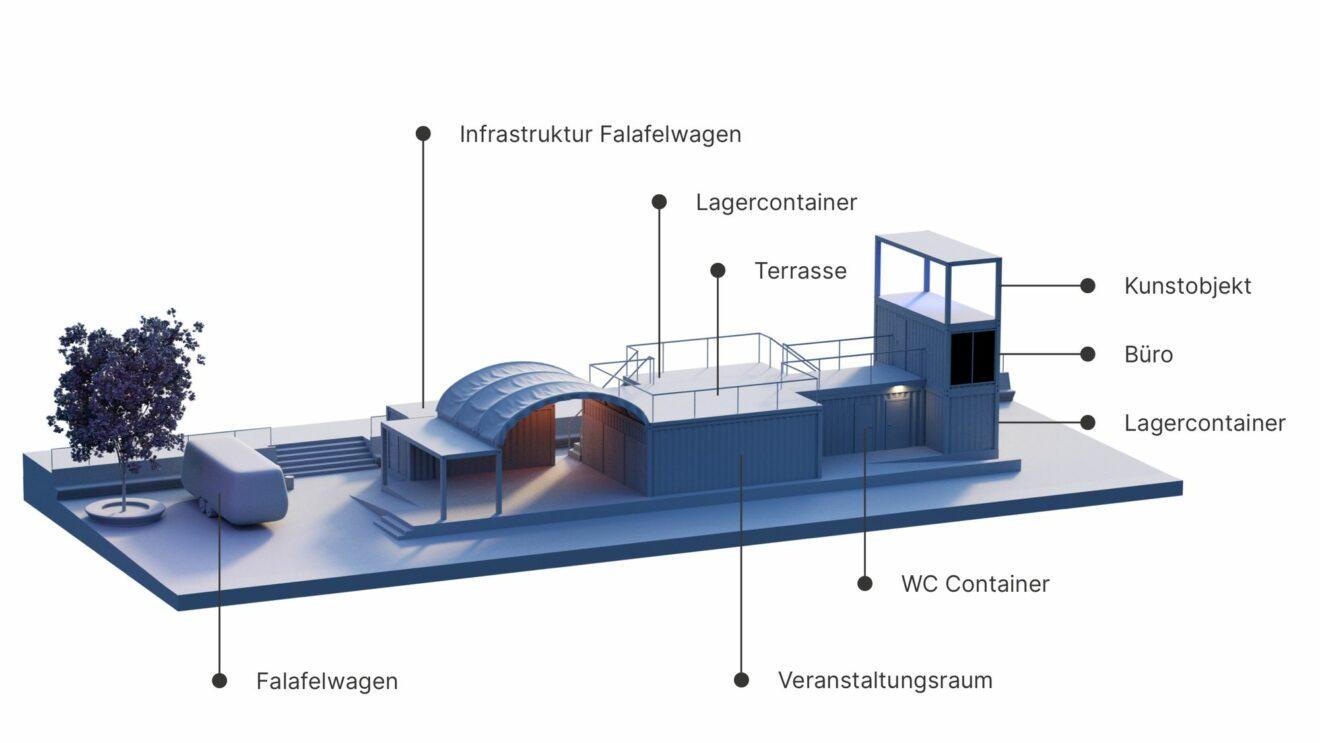 So soll das Blechschloss auf dem Scheunevorplatz aussehen. 3D Modell: Euler Void