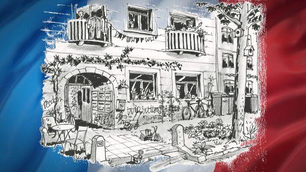 Das Leben in einer WG ist auch einer Französin vertraut. Zeichnung: Jean-Pierre Deruelles