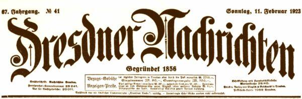 Dresdner Nachrichten vom 11. Februar 1923