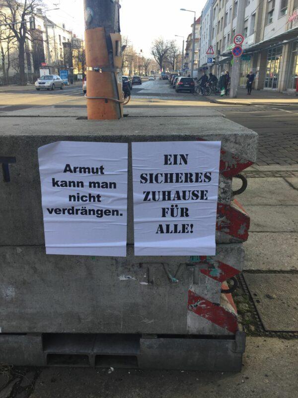 Forderungen im Stadtbild sichtar machen. Foto: Bettellobby