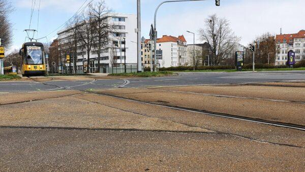 Dringen nötig: Gleisreparaturen am Carolaplatz