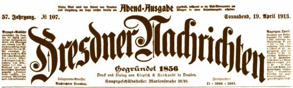 Dresdner Nachrichten vom April 1913
