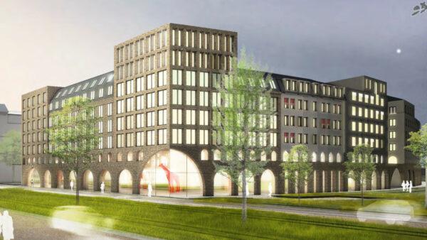 Mit einem markanten Eckhaus wird der Eingang der neuen Straße markiert. Entwurf: TSSB-Architekten