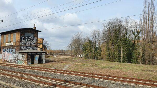 Das Gelände vom Bahnhof Neustadt aus gesehen.