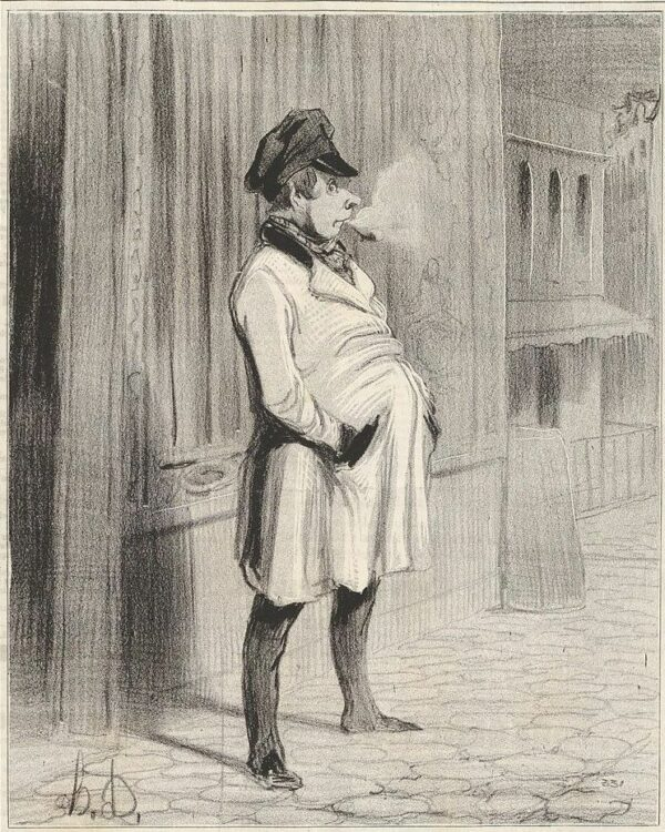 Le claqueur Zeichnung von Honoré Daumier, Mitte des 19. Jahrhunderts