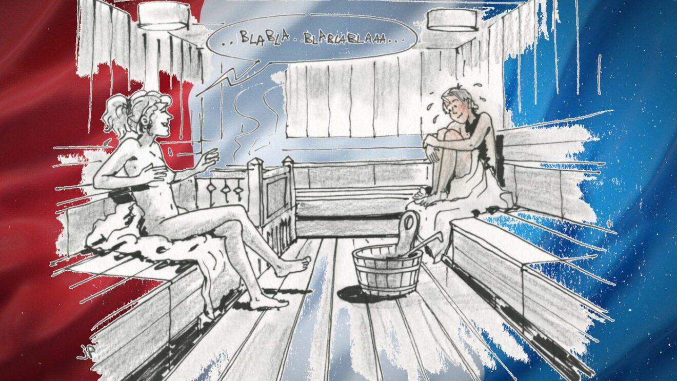 Peps fühlt sich in der Öffentlichkeit nackt nicht so wohl - Zeichnung: Jean-Pierre Deruelles
