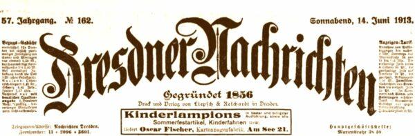 Dresdner Nachrichten vom 14. Juni 1913
