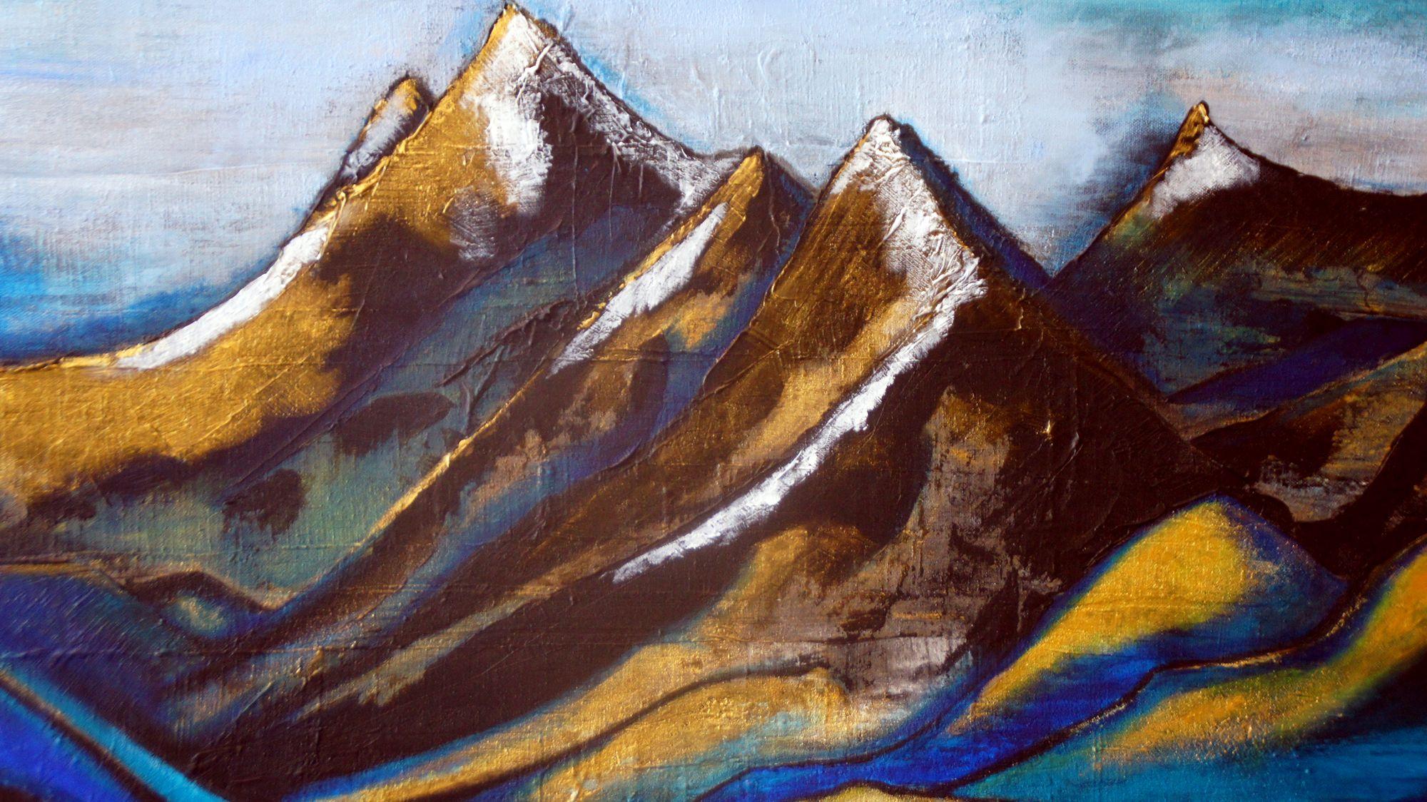 """Berge in Acryl: """"Für Öl bin ich zu ungeduldig."""" Foto: Philine"""