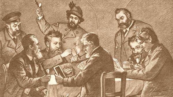 """Am Stammtisch - nach einer Kohlenskizze von F. Prölß, veröffentlicht 1888 in der Zeitschrift """"Gartenlaube"""""""