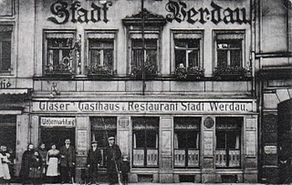 Gasthof Stadt Werdau, Postkarte um die Jahrhundertwende