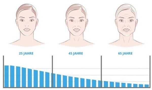 Kollagenanteil in der Haut im Verlaufe der Jahre