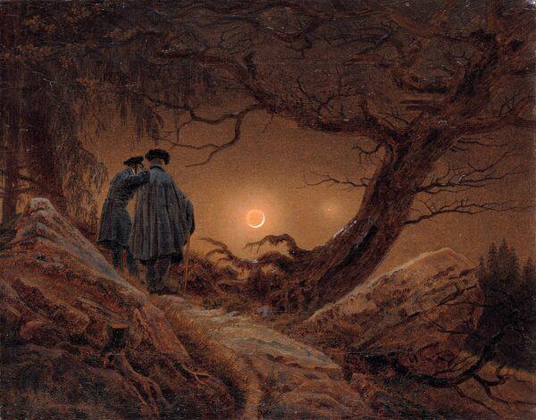 Caspar David Friedrich: Zwei Männer in Betrachtung des Mondes1819/1820