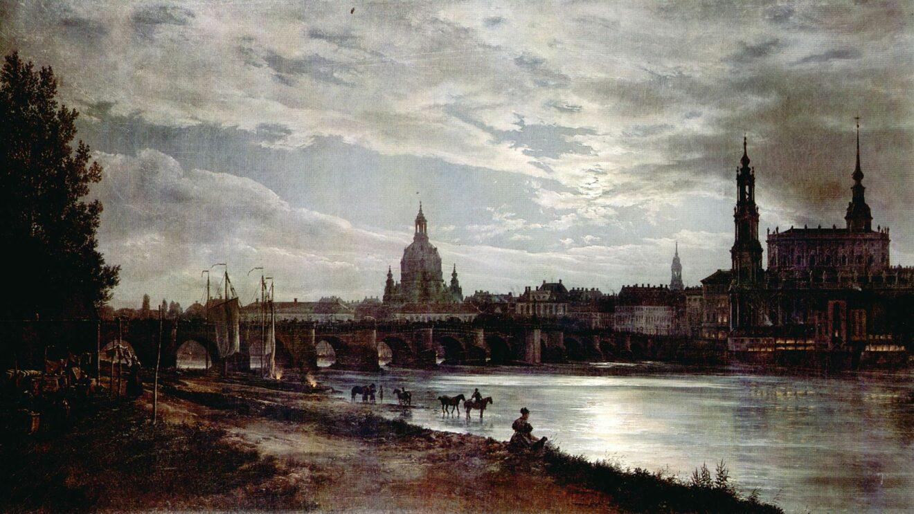 Johan Christian Clausen Dahl: Blick auf Dresden bei Vollmondschein, 1839