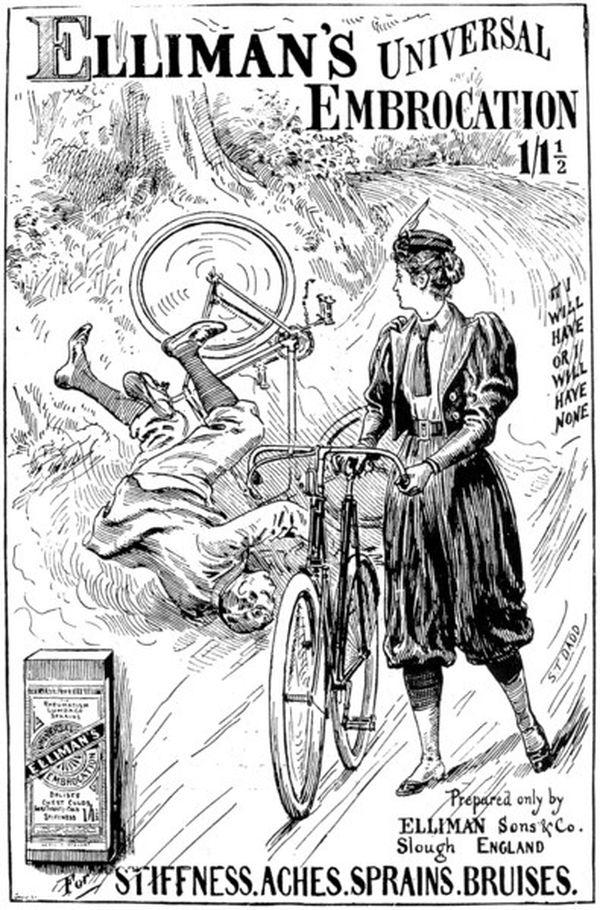 Radfahrerin in Pumphosen - Anzeige von 1900