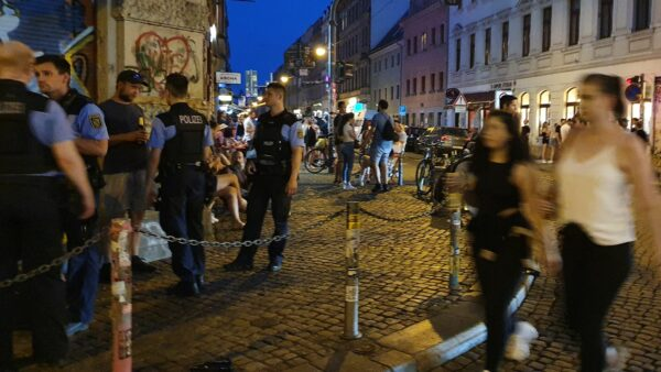 Polizeieinsatz an der Schiefen Ecke im Juni