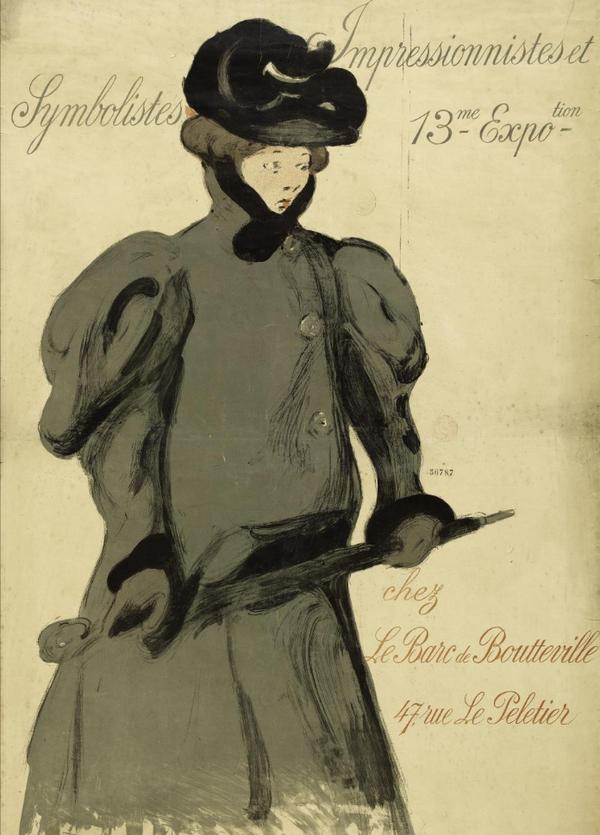 Dame mit Regenschirm um die Jahrhundertwende - Poster von Maxime Dethomas