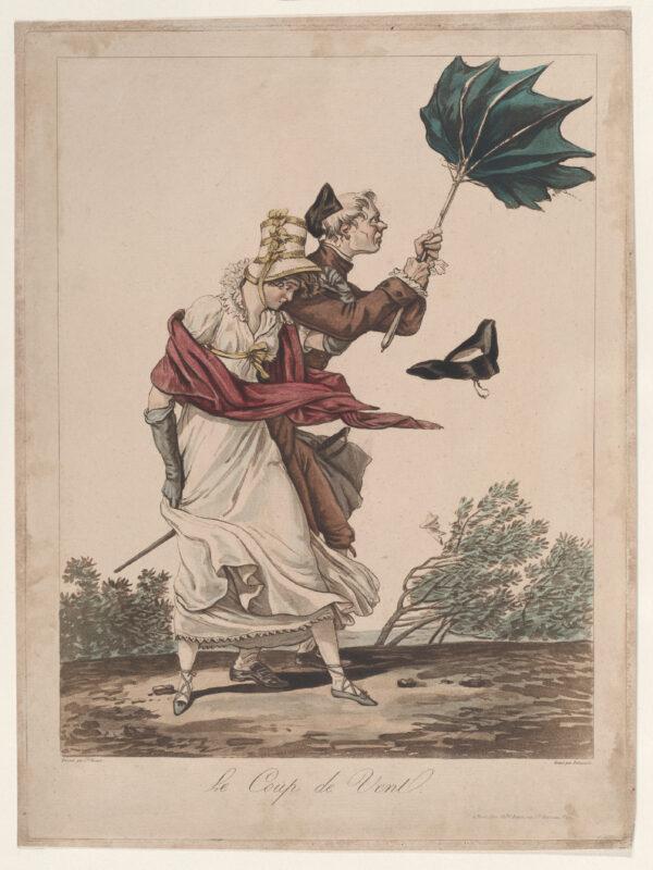 Der Windstoß - Le coup de vent - Zeichnung von Louis Philibert Debucourt