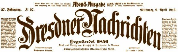 Dresdner Nachrichten von 1913