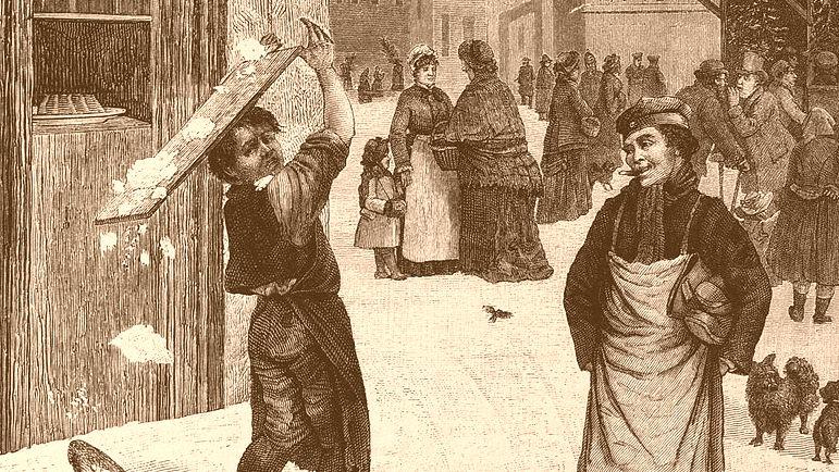 Bäckerjungen Karrikatur aus der Zeitschrift Gartenlaube 1882