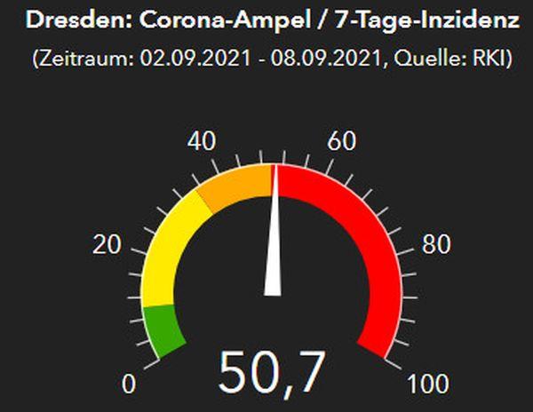 Dresdner Corona-Ampel am 9. September 2021