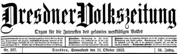 Dresdner Volkszeitung vom 11. Oktober 1913